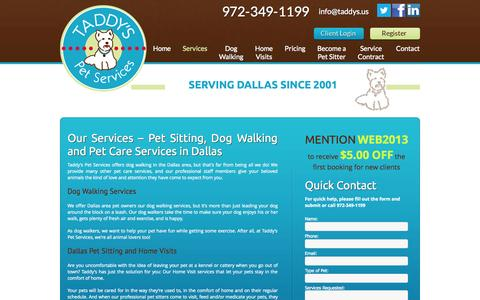Screenshot of Services Page taddys.us - Dog Walker  Pet Care Services   Dallas, TX   Taddys.us - captured Oct. 27, 2014