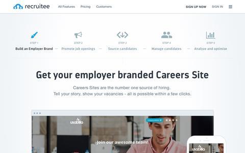 Screenshot of recruitee.com - Employer brand | Recruitee - captured Sept. 14, 2016