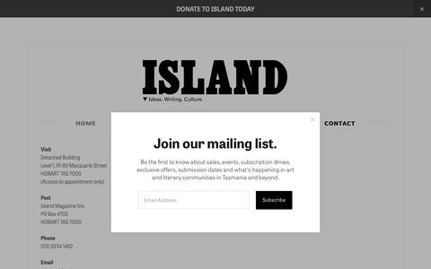 Screenshot of Contact Page islandmag.com - CONTACT — Island magazine - captured Oct. 13, 2018