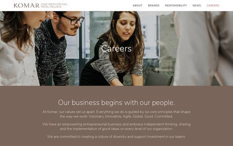 Screenshot of Jobs Page komarbrands.com - Careers – Komar - captured Oct. 16, 2018