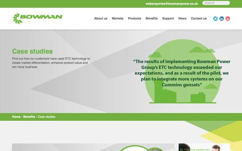 Screenshot of Case Studies Page bowmanpower.com - Case Studies | ETC Technology Helps Businesses | Bowman - captured July 13, 2018