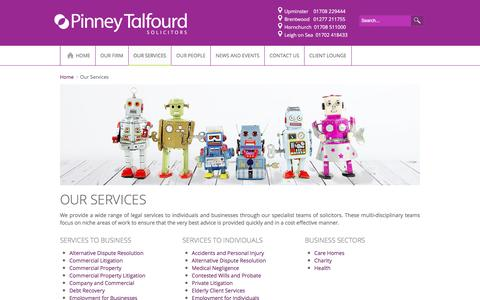 Screenshot of Services Page pinneytalfourd.co.uk - Legal Services in Essex, Upminster, Hornchurch and Brentwood - Pinney Talfourd Solicitors - captured July 13, 2016