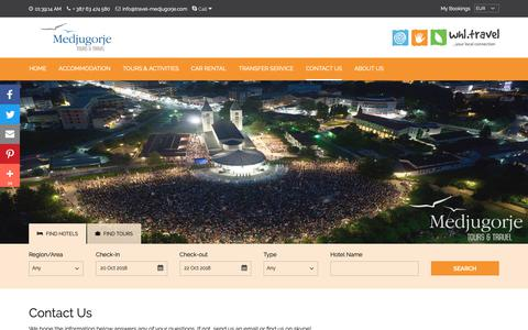 Screenshot of Contact Page travel-medjugorje.com - We are Local - Contact us if you Travel to Medjugorje - captured Oct. 17, 2018