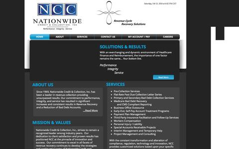 Screenshot of Home Page ncc.us - Nationwide Credit & Collection, Inc. - captured Feb. 13, 2016