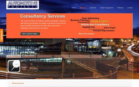 Screenshot of Services Page automotiveprojects.co.uk - Automotive consultancy services - captured Feb. 6, 2016