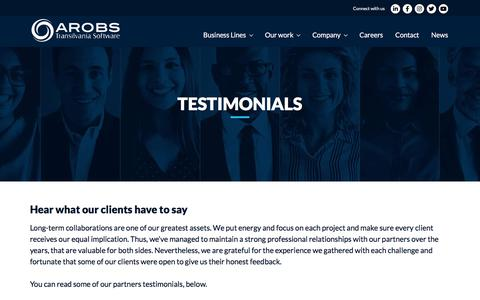 Screenshot of Testimonials Page arobs.com - Testimonials - Hear what our clients have to say - AROBS - captured Oct. 31, 2019
