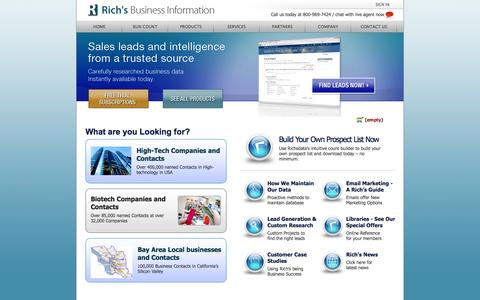 Screenshot of Login Page richsdata.com - Richs Data Search | Bio-Science, High-Tech, Lead Generation and California B2B Databases - captured Oct. 27, 2014