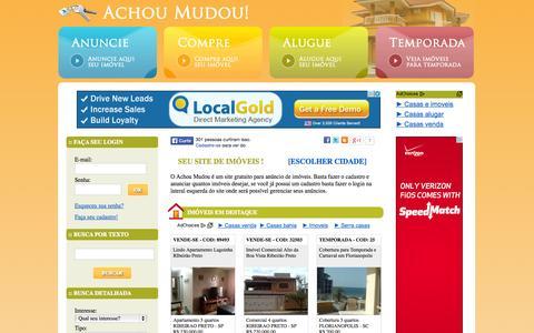Screenshot of Home Page achoumudou.com.br - Achou Mudou! - Anúncio Grátis de Imóveis, Casas e Apartamentos. - captured Jan. 28, 2015