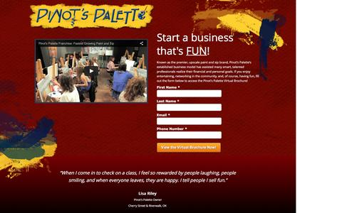 Screenshot of Landing Page pinotspalette.com - Start A Paint and Sip Business - captured May 25, 2016