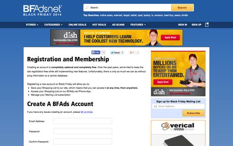 Screenshot of Signup Page bfads.net - Create a Black Friday Ads Account - captured Sept. 19, 2014