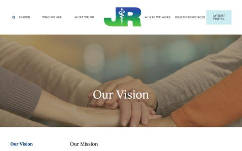 Screenshot of About Page jrmc.us - Jewish Renaissance Medical Center : WHO WE ARE : Our Vision : Our Vision LP - captured Feb. 11, 2016