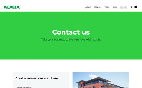 Screenshot of Contact Page acaciauk.net - Contact - ACACIA - captured July 28, 2018