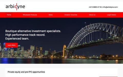 Screenshot of Home Page arbidyne.com - Home | Arbidyne - captured Oct. 8, 2017