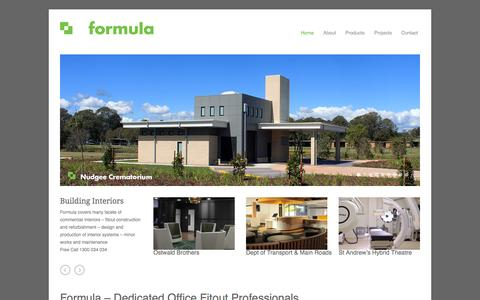 Screenshot of Home Page Privacy Page formulainteriors.com.au - Office Fitout Professionals | Building Interiors | Formula Interiors - captured Sept. 30, 2014