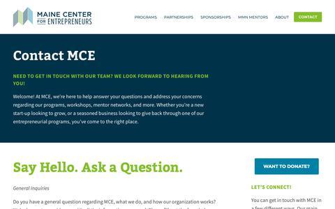 Screenshot of Contact Page mced.biz - Contact — Maine Center for Entrepreneurs - captured Dec. 17, 2018