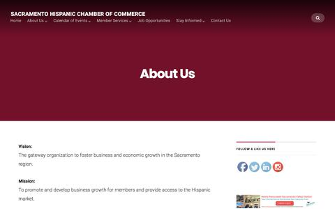 Screenshot of About Page sachcc.org - About Us — Sacramento Hispanic Chamber of Commerce - captured Oct. 4, 2017