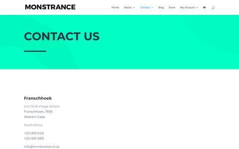Screenshot of Contact Page monstrance.co.za - Contact | Monstrance - captured Oct. 20, 2018