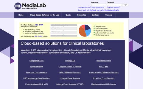 Screenshot of Home Page medialab.com - Cloud-Based Solutions for Clinical Laboratories - MediaLab, Inc. - captured July 8, 2019