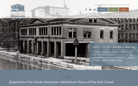 Screenshot of Home Page eriecanalmuseum.org - Home - Erie Canal Museum - captured July 18, 2018