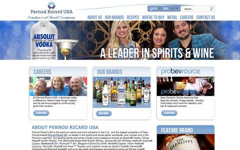 Screenshot of Home Page pernod-ricard-usa.com - Pernod Ricard USA - captured Jan. 26, 2015
