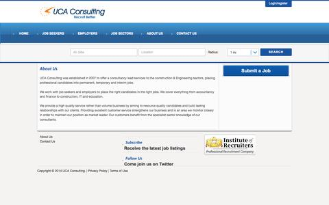Screenshot of About Page ucaconsulting.co.uk - About Us - UCA Consulting - captured Oct. 3, 2014