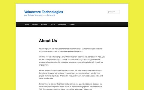 Screenshot of About Page valueware.co.in - About Us | Valueware Technologies - captured Dec. 11, 2016