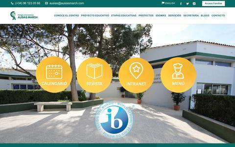 Screenshot of Home Page ausiasmarch.com - Colegio privado internacional bilingüe inglés-Español Valencia - captured Aug. 15, 2017