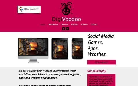 Screenshot of Home Page digivoodoo.com - DigiVoodoo digital agency Birmingham, games developer Birmingham - captured Sept. 30, 2014