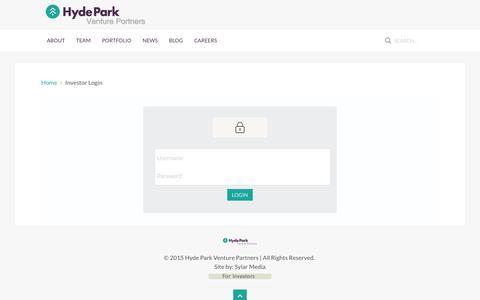 Screenshot of Login Page hydeparkvp.com - Investor Login - captured Jan. 25, 2016