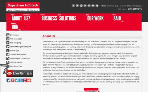 Screenshot of About Page supertroninfotech.in - About Us: Customized web solutions provider, Mobile Apps & SEO - captured Sept. 23, 2014