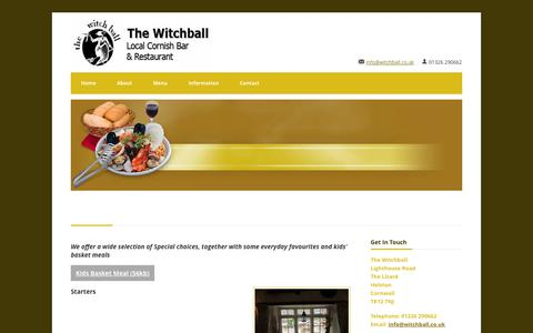 Screenshot of Menu Page witchball.co.uk - Menu | Local Cornish bar and restaurant - Lighthouse Road The Lizard Helston TR12 7NJ 01326 290662 | The Witchball - captured Oct. 7, 2014