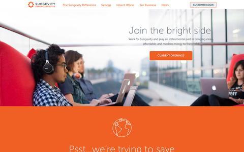 Screenshot of Jobs Page sungevity.com - Solar Energy Jobs, Solar Panel Jobs - Careers - Sungevity - captured Oct. 1, 2015