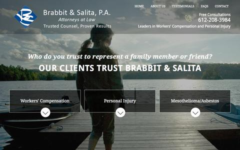 Screenshot of Home Page brabbitsalita.com - Minneapolis Workers' Compensation Attorneys | Work Injury Lawyers Twin Cities - captured Sept. 13, 2015