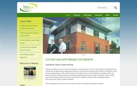 Screenshot of Home Page maxsysltd.com - Maxsys fuel systems, cut fuel costs, USA, UK, CO2 emissions, cleantech - captured Oct. 6, 2014