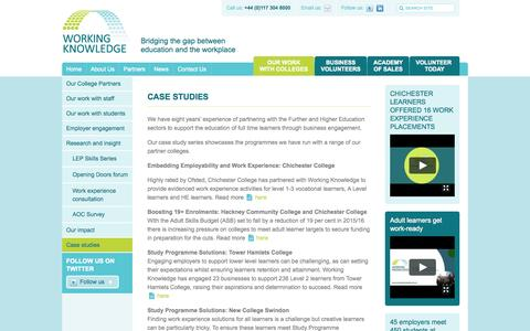 Screenshot of Case Studies Page workingknowledge.org.uk - Case studies | Working Knowledge - captured Oct. 26, 2014