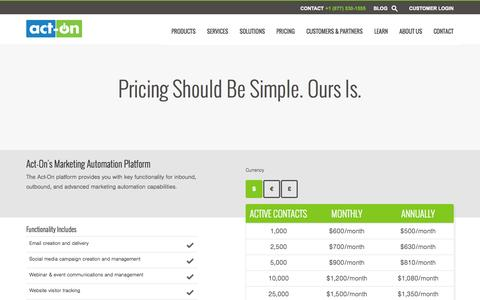 Screenshot of Pricing Page act-on.com - Act-On Pricing ($) - captured Oct. 28, 2014