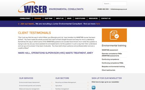 Screenshot of Testimonials Page wiserenvironment.co.uk - Client testimonials - Wiser Environment - captured Sept. 20, 2018
