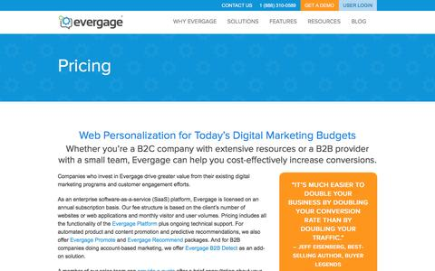 Screenshot of Pricing Page evergage.com - Evergage Pricing | Web Personalization For Today's Budget - captured Jan. 24, 2016