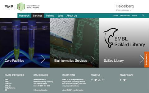 Screenshot of Services Page embl.de - Services - EMBL - captured July 17, 2015
