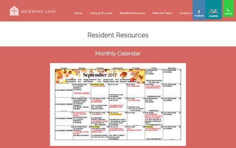 Screenshot of Menu Page rockwoodlaneretirement.com - Resident Resources - Rockwood Lane Retirement - captured Oct. 23, 2017