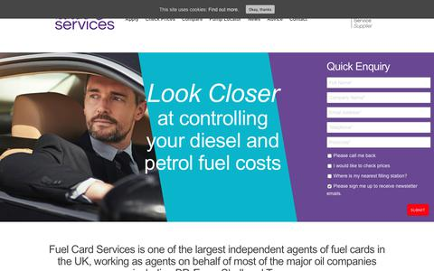 Screenshot of Home Page fuelcardservices.com - Fuel Card Services | Reducing diesel & petrol costs made easy - captured Oct. 14, 2017