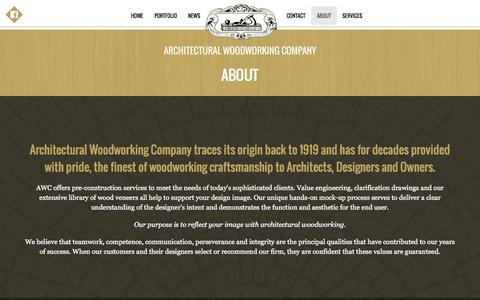Screenshot of About Page awcla.com - AWC Architectural Woodworking Company - captured Nov. 2, 2014