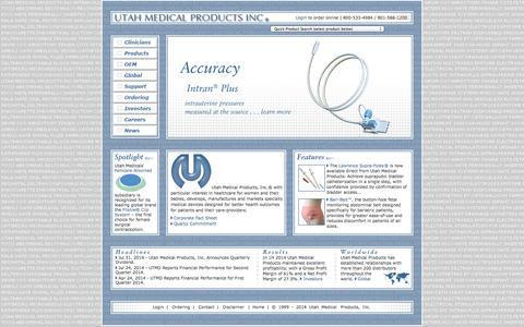 Screenshot of Home Page utahmed.com - Utah Medical Products, Inc. Medical devices for Obstetrics, Perinatology, Gynecology, Neonatology, Pediatrics, Urology, Electrosurgery, Blood Pressure Monitoring and Blood Management - captured Oct. 9, 2014