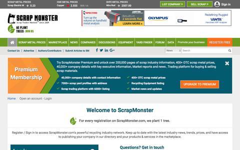 Screenshot of Login Page scrapmonster.com - Register Free for Scrap Metal Prices, News, Recycling Directory, Scrap Buyers Listing and more - ScrapMonster.com - captured June 22, 2017