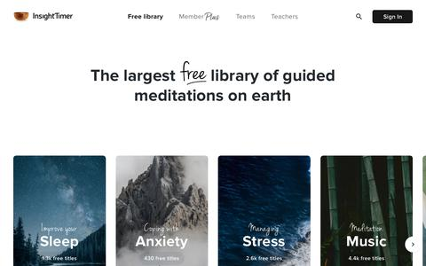 Screenshot of Home Page insighttimer.com - Insight Timer - #1 Free Meditation App for Sleep, Relax & More - captured Jan. 3, 2020