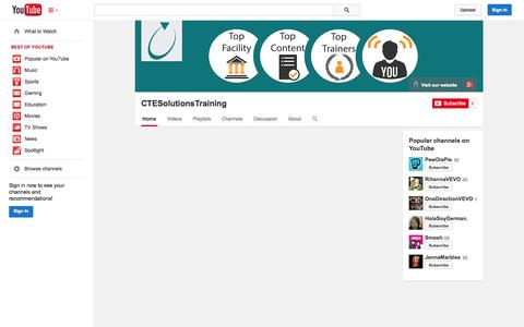Screenshot of YouTube Page youtube.com - CTESolutionsTraining  - YouTube - captured Oct. 28, 2014