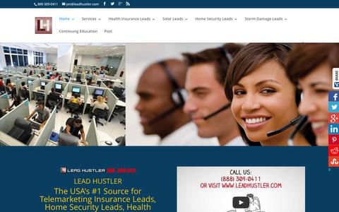 Screenshot of Home Page leadhustler.com - leads - captured July 20, 2015