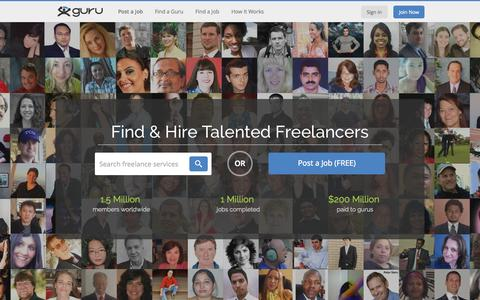 Screenshot of Home Page guru.com - Guru - Hire Quality Freelancers And Find Freelance Jobs - captured Sept. 29, 2015