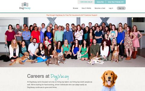 Screenshot of Jobs Page dogvacay.com - Jobs at DogVacay | DogVacay - captured Dec. 17, 2014
