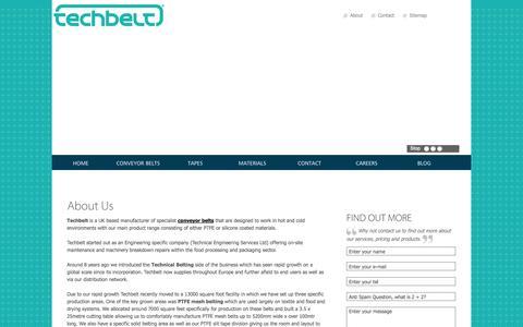 Screenshot of About Page techbelt.co.uk - About Techbelt - conveyor belts specialist - captured Oct. 26, 2014